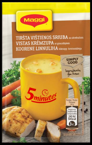 MAGGI 5minutes tirpi tiršta vištienos sriuba su skrebučiais 16g