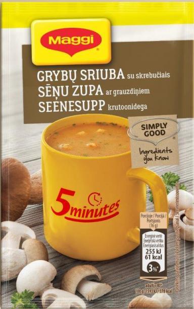 MAGGI 5minutes tirpi grybų sriuba su skrebučiais 16g