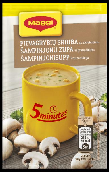 MAGGI 5minutes tirpi pievagrybių sriuba su skrebučiais 14g