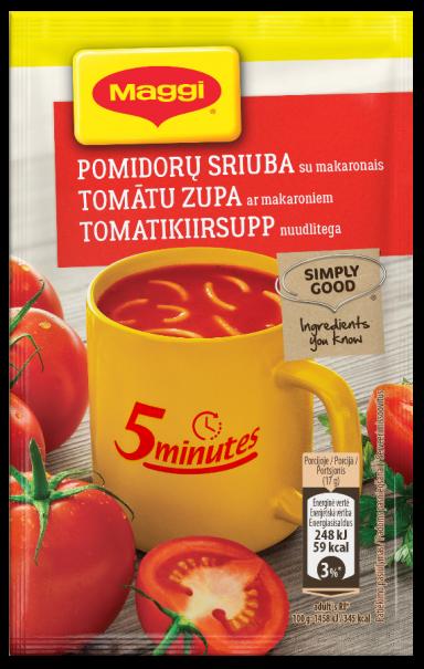 MAGGI 5minutes tirpi pomidorų sriuba su makaronais 17g