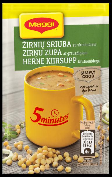 MAGGI 5minutes tirpi žirnių sriuba su skrebučiais 22g